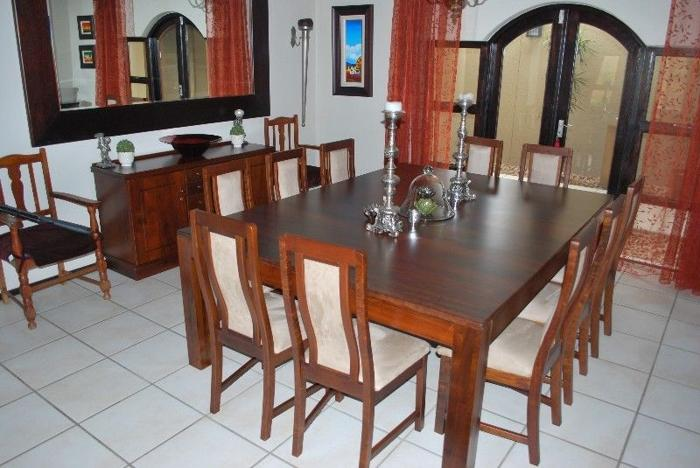 10 Seater Solid Imbuia Dining Room Table Chairs And