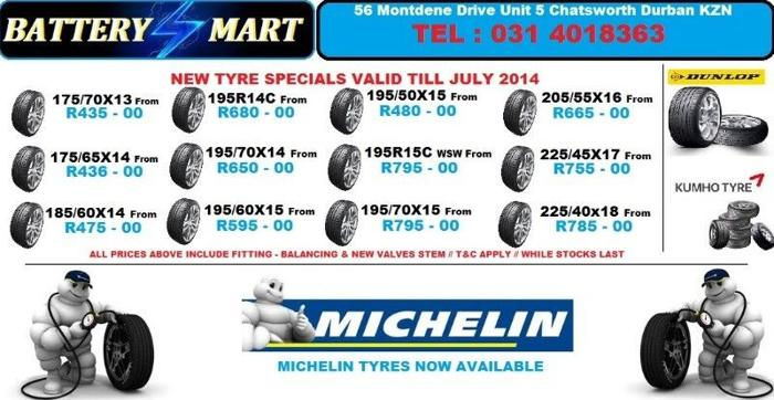 195/60X15 TYRES from R595