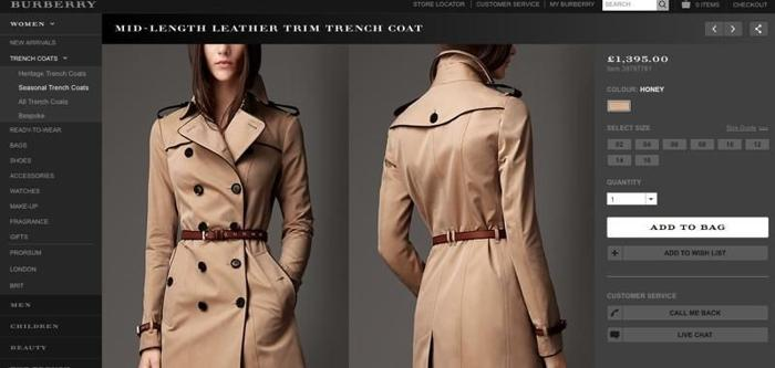 2014 Burberry London Mid Length Leather Trim Trench
