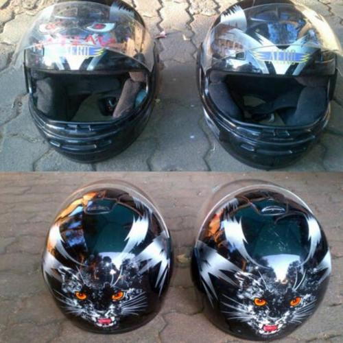 2 matching helmets for sale