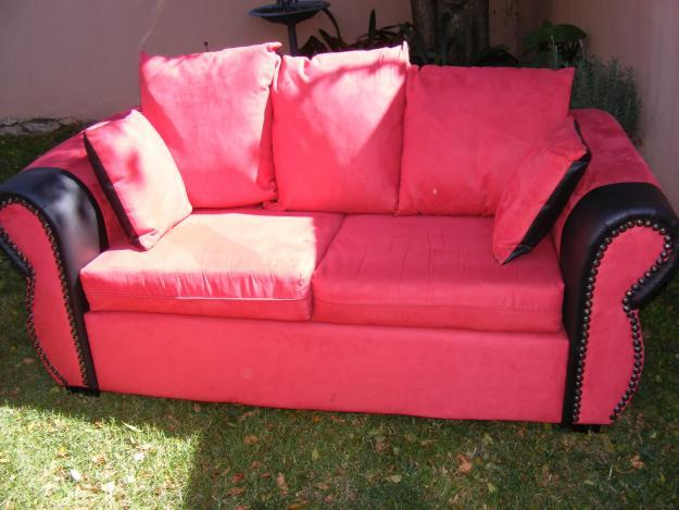 2x black leather red suede 2 seater couches for sale for for Suede couches for sale