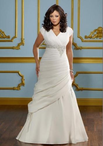 A-Line Satin Wedding Dress Plus Size