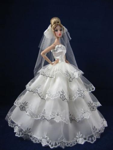 Barbie doll white party dresses and wedding dresses,