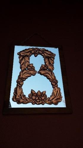 Beautiful copper wreath mirror.