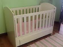 Beautiful white wooden cot with drawer included