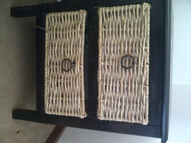 Bedside Table with Wicker Basket