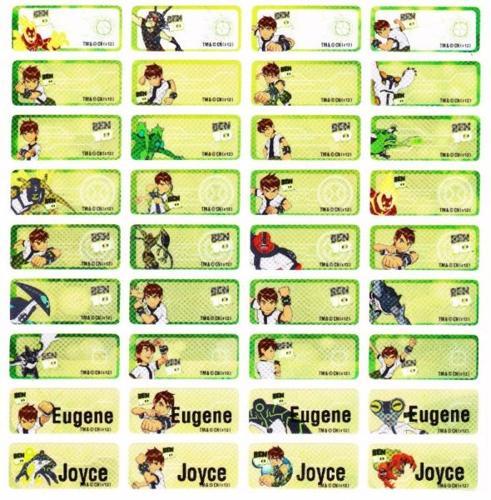Ben 10 Cartoon Name Labels