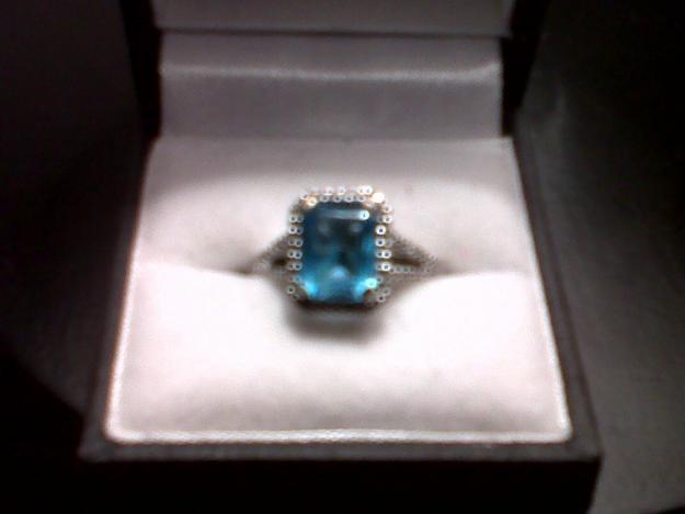 blue topaz and diamond white gold ring