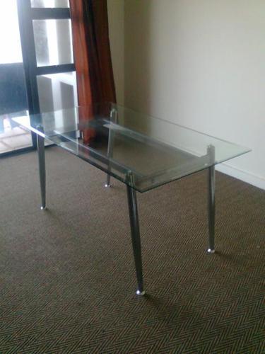 Boardmans Glass Top & Chrome Dining Table (neg)