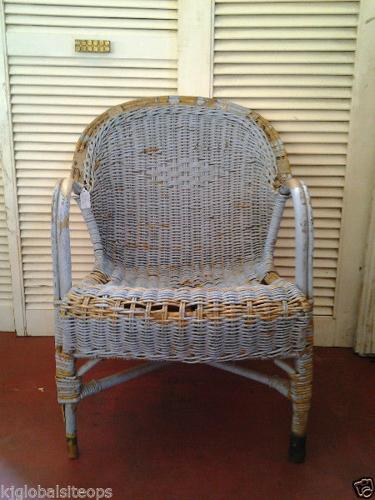 Cazmo 417-Style - Wicker Rustic Blue Chair