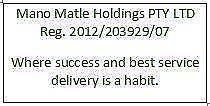 Company Registration (Mano Matle Holdings PTY LTD Reg.