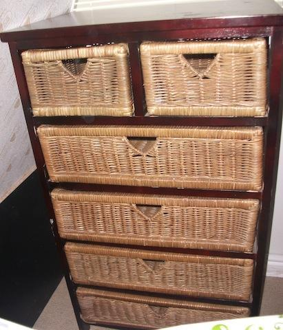 Dark Wood Chest Of Drawers With Wicker Baskets For Sale In