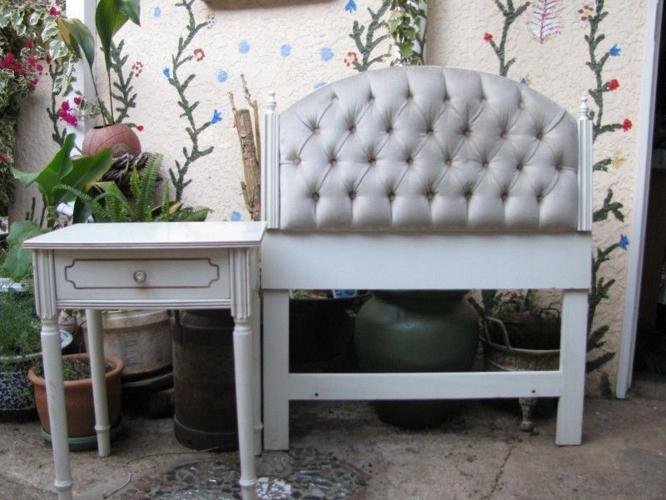 French style single bed head board and side table