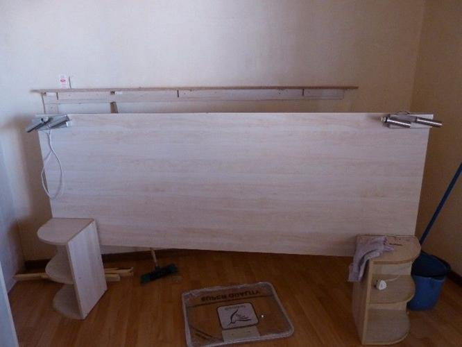 Head Board With Built In Lights And Bed Side Tables With
