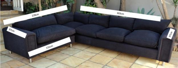 L shaped suede black couch for sale in durban kwazulu for Suede couches for sale