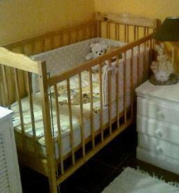 LOVELY WOODEN COT AND WALKING RING FOR SALE
