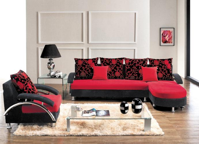 New Red And Black Lounge Suite Single Couch And Cushions