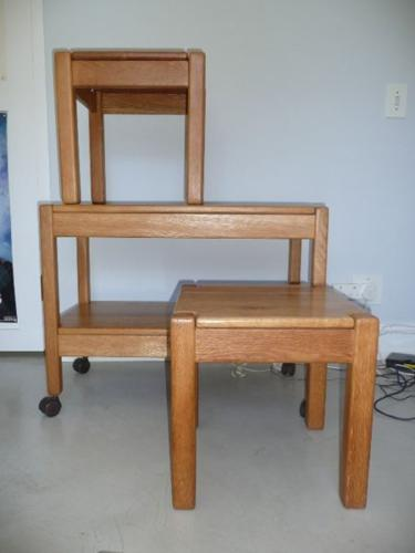 Oak trolley and 2 side tables