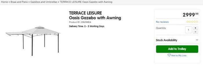 Oasis Gazebo with awning