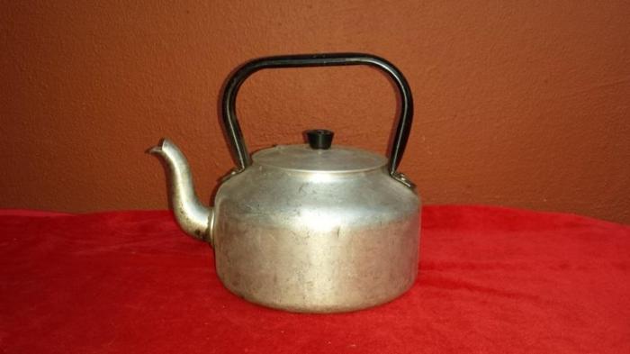 Old aluminium kettle.