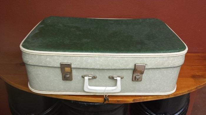 Old green & grey suitcase.
