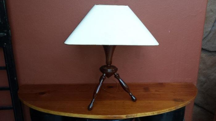 Old wooden table lamp.