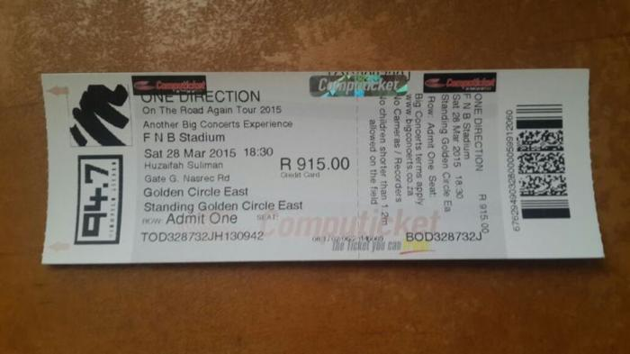 ONE DIRECTION GOLDEN CIRCLE TICKET