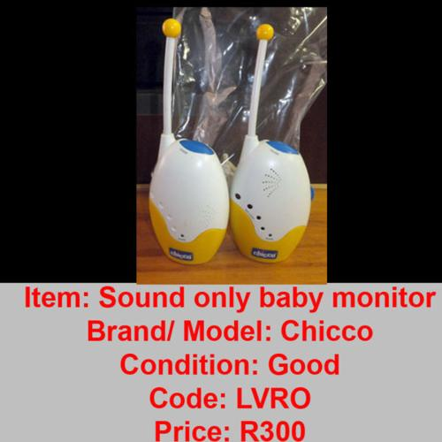 pass it on baby sound baby monitors chicco r300 baby phone r200 for sale in pietermaritzburg. Black Bedroom Furniture Sets. Home Design Ideas