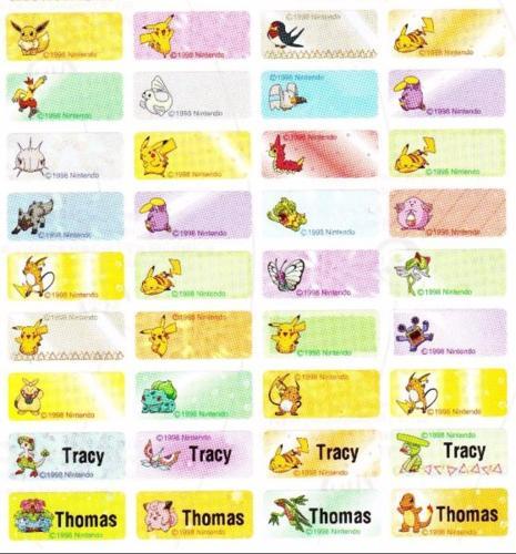 Pokemon Cartoon Name Labels