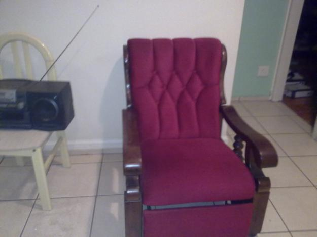 Red Suede Recliner for sale