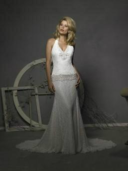 Secondhand white lace and swarovski wedding dress sixe