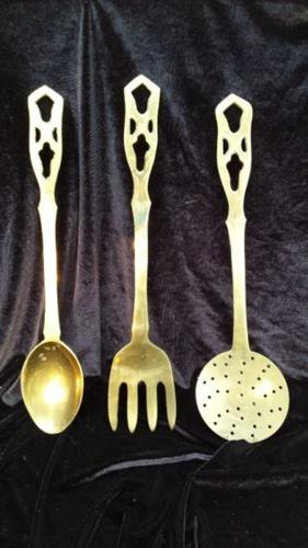Set of 3 large brass utensils.