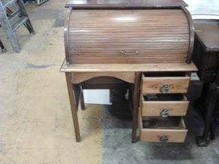 SMALL Antique Style Roll Top Desk / Writing Bureau Was
