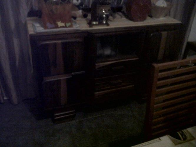 Solid Oak Dining Table Chairs And Buffet Server Antique For Sale