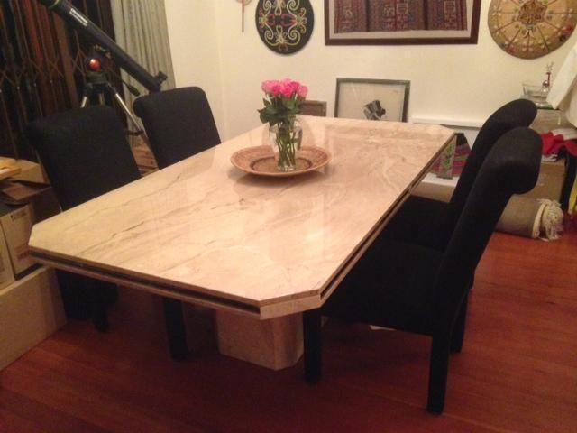 Travertine marble Italian 8 Seater dining table. Moving