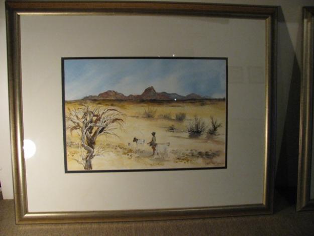 Two framed Lorna Reade Namibian landscapes