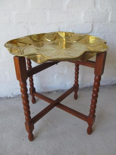 Very nice copper tray with teak stand for sale