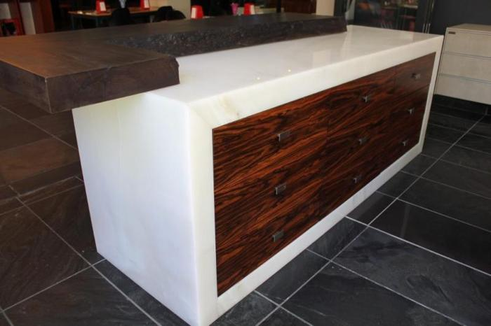 White onyx bar unit with solid panga panga top for Sale in ...