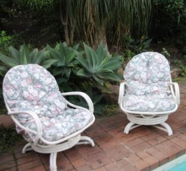 WHITE WASHED CANE PATIO CHAIRS - PRICE IS EACH