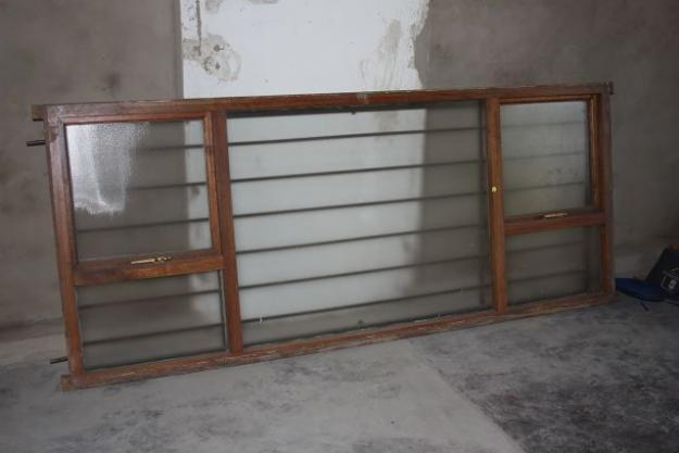 Wooden Window Frames With Glass And Burglar Bars For Sale