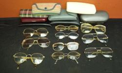 10 Pairs of old spectacles. All frames old, unique and