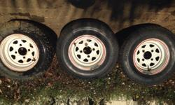 "3x 10"" tyres and rims for a venter trailer. 2 tyres are"