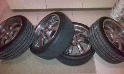 17 chrome with tyres 75% life alround pcd 4x100. 4x114