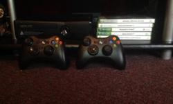 HI XBOX 360 250 GIG WITH TWO REMOTES AND 5 GAMES FOR