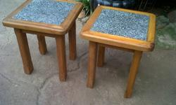 2 Oregon wood and inlayed Melamine coffee tables (black