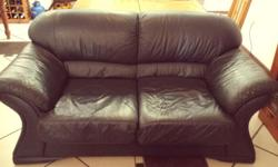 2 X Genuine Navy blue Leather 2 seater couches, very