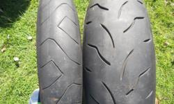 2 x motorcycle tyres to fit Yamaha R6, still in good