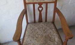 2x Oak Carvers for sale unrestored arm chairs in a good