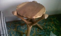 2 off beatifull 3 leg fold up wooden tables in very
