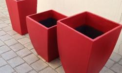 These 3 red cement garden pots will certainly turn your
